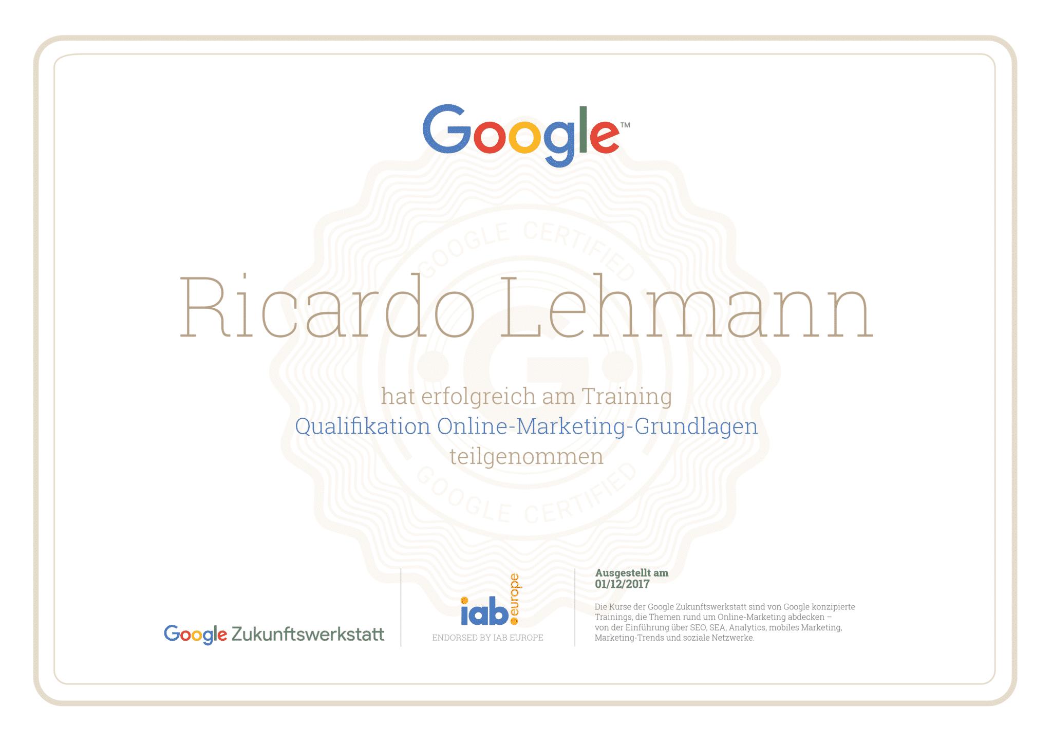Google - Zukunftswerkstatt - Zertifikat