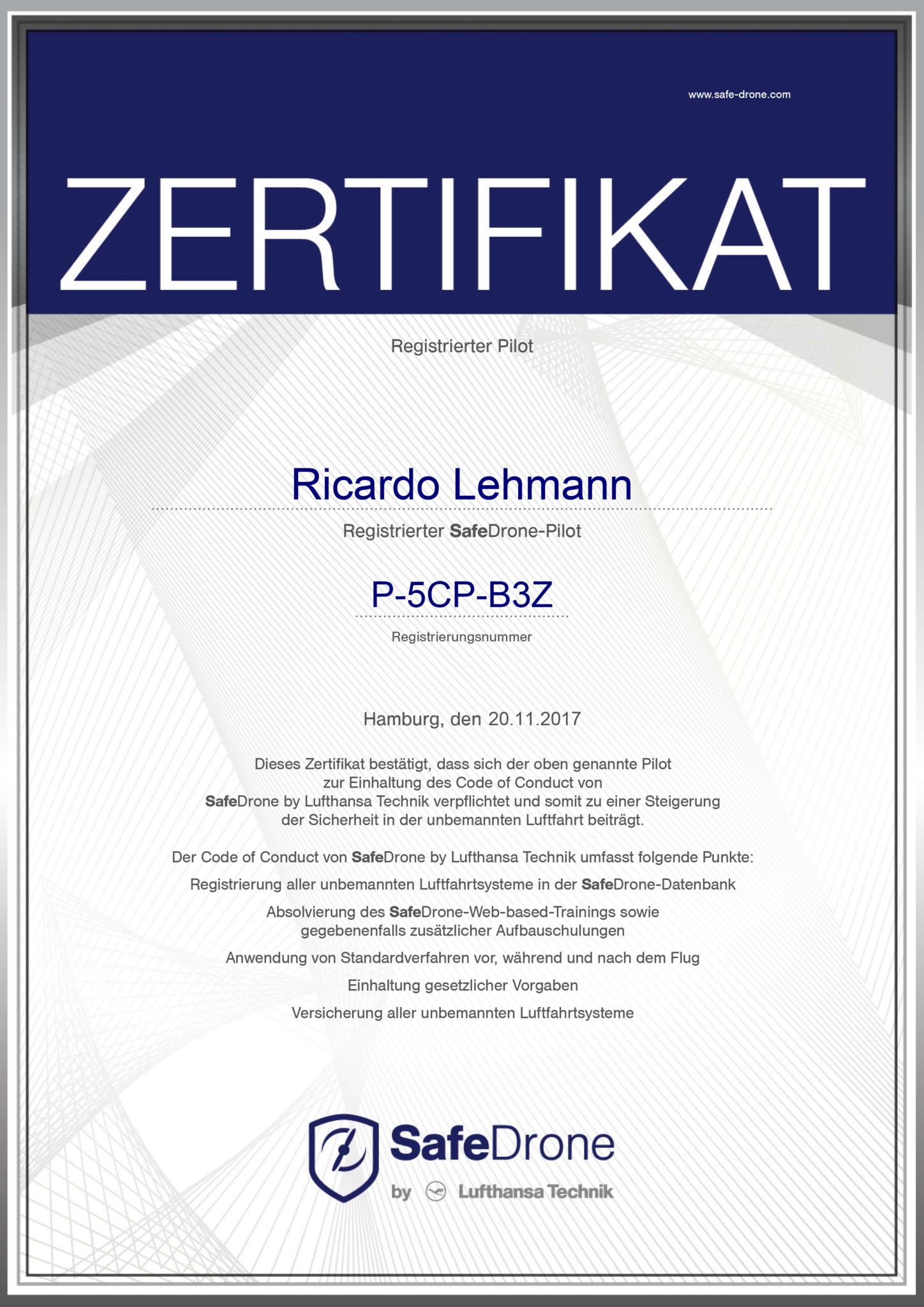 Zertifikat Drohnenpilot